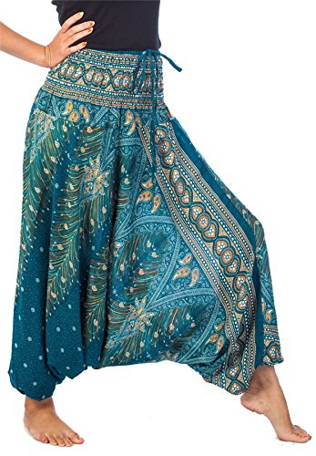 LOFBAZ Yoga Harem Pants for Women Boho Hippie Bohemian Clothing Womens Beach Indian Gypsy Clothes Genie Maternity Jumpsuit Peacock 1 Teal Green S