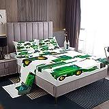 Loussiesd Juego de sábanas para niños y excavadoras, ropa de cama para niños, niñas, color verde