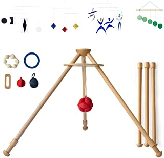 The Activity Gym by Monti Kids: Level 1 Includes Wooden Baby Gym/Baby Activity Center with Montessori Mobiles, Toys & Rattles; Parent Education and Support from Montessori Educators. Safety Certified.