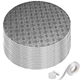 Sturdy Silver Cake Drum 12 Inch 1/2' Thick (14 Pack) + Matching Ribbon + Prop Up Tool | Seamless Greaseproof Foil Board | Bundle for Making The Perfect Presentation!