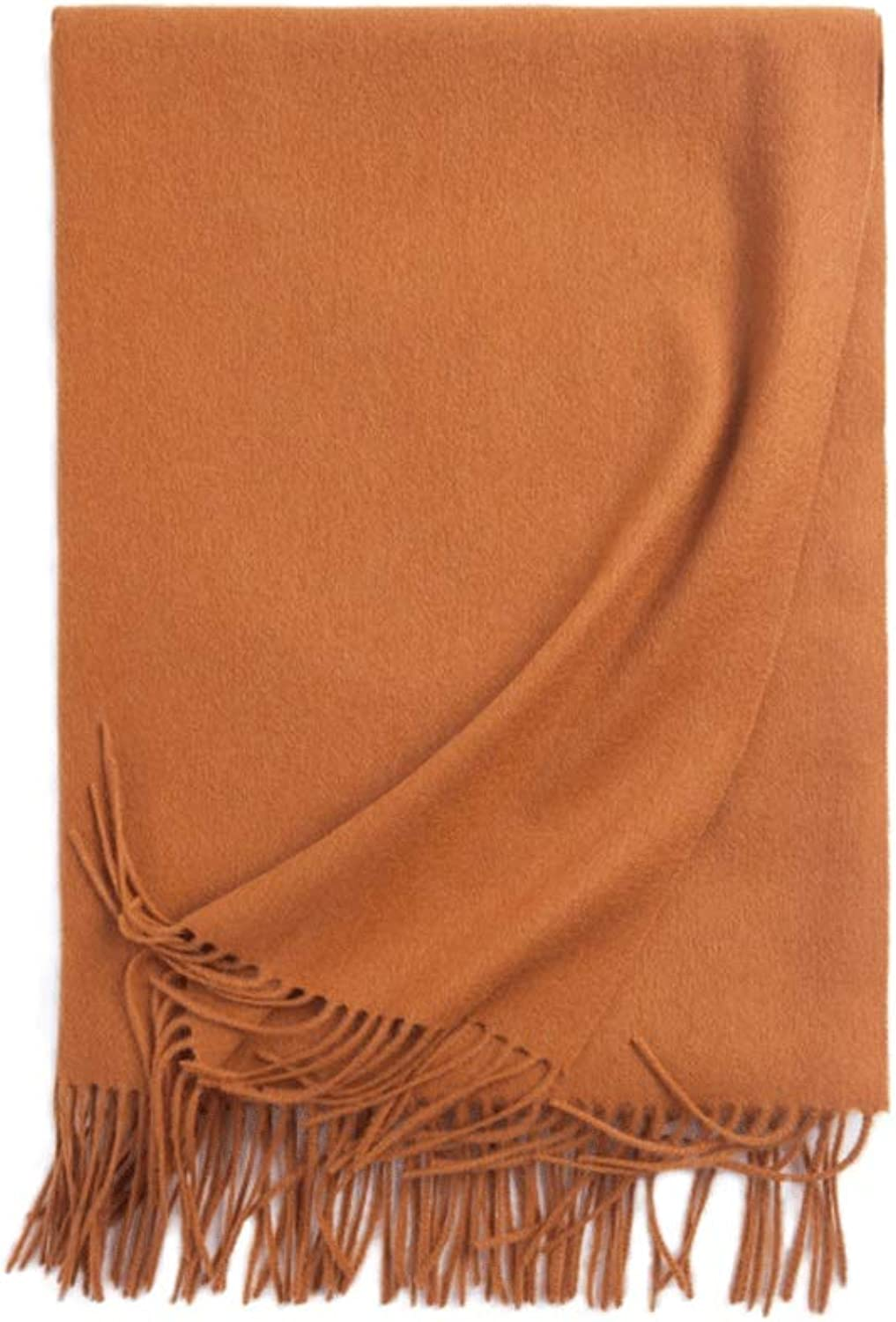 WXL Long Section Solid color Woman Scarf Winter Soft Elegant Tassels Long 200cm×70cm Shawl V (color   Caramel color)