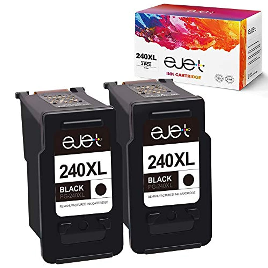 ejet Remanufactured Ink Cartridge Replacement for Canon PG-240XL 240 XL 5206B001 for Pixma MG3620 TS5120 MG2120 MG3520 MX452 MX512 MX532 MX472 MG3120 MG3122 MG4120 MX432 MX439 High Yield (2 Black)