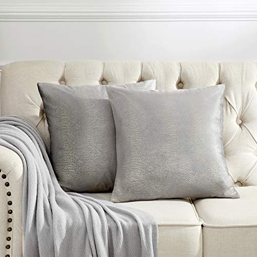 OMMATO Funda de cojín gris de 45 x 45 cm con impresión de terciopelo plateado, funda de cojín decorativa para sofá, dormitorio, salón, 2 unidades