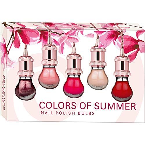 Set de belleza para uñas de color intenso, 5 colores de moda, colores de verano, esmalte de uñas con acabado brillante, en elegante caja de regalo