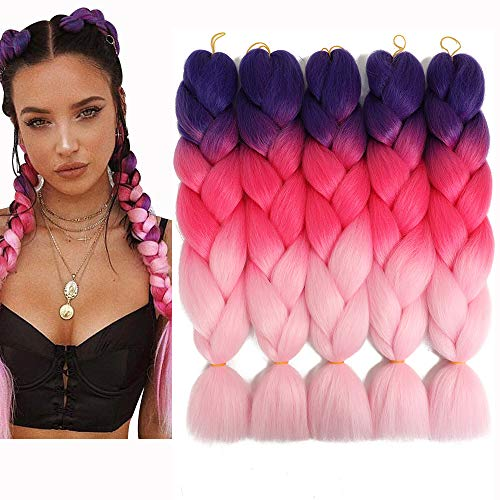 "Jumbo Ombre Braiding Hair Three Tone Kanekalon Braiding Hair Synthetic Color Hair Extensions for Crochet Box Twist Braids Hair with Free Gifts 24"" 5Pcs/Set 100G/Pc (Purple/Rose/Light-Pink)"