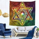 Yhjdcc Tapiz de pared con diseño de cubo de Metatrón con Merkabah y flor de la vida, estilo vintage, tapiz de pared de microfibra melocotón para decoración del hogar, 150 cm x 200 cm