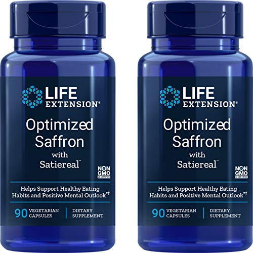 Life Extension Optimized Saffron Extract with Satiereal, 90 Veg Caps (Pack of 2) - 88.25 mg
