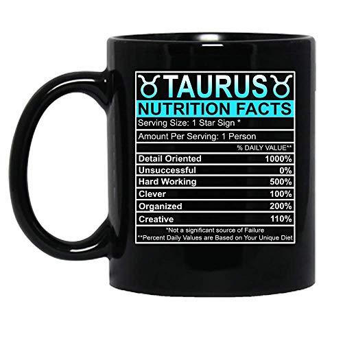 N\A Tauro información nutricional Signo del zodíaco horóscopo celebración de cumpleaños Mujer niña Taza de cerámica Tazas de café gráficas Tazas Negras Tapas de té Novedad Personalizada