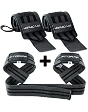 Fitgriff® Wrist Wraps + Lifting Straps (Bundle) - Wrist Straps for Weightlifting, Gym, Crossfit, Strength Training, Fitness - for Men and Women