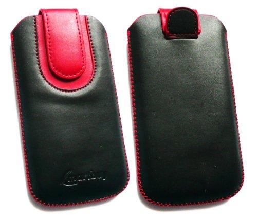 Emartbuy® Schwarz / Rot PU Leder Slide in Hülle Tasche sleeve Halter ( Größe 3XL ) Mit Zuglasche Mechanismus Geeignet Für Slok D1 Dual Sim Smartphone