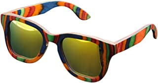 De Ding Multicolored Woodサングラスイエロー偏光Sunglases