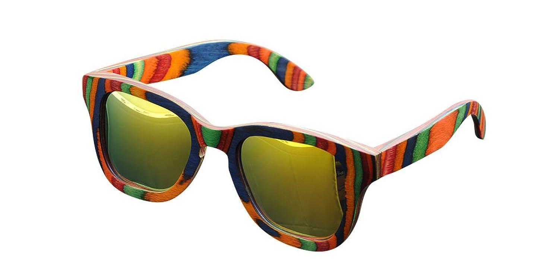 De Ding Multicolored Woodサングラスイエロー偏光Sunglases