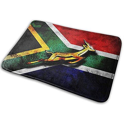 Not Applicable Quadratische Fußmatten, Südafrika Flagge Afrikanisches Emblem Springbock Eingangstürmatte Badboden Home rutschfeste Fußmatte Eingang 40x60cm