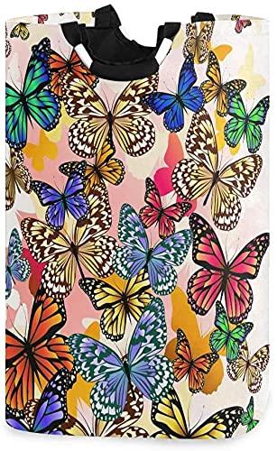Stanley Gissing Cesta de lavandería grande para compras, plegable, plegable, plegable, diseño de mariposa de dibujos animados