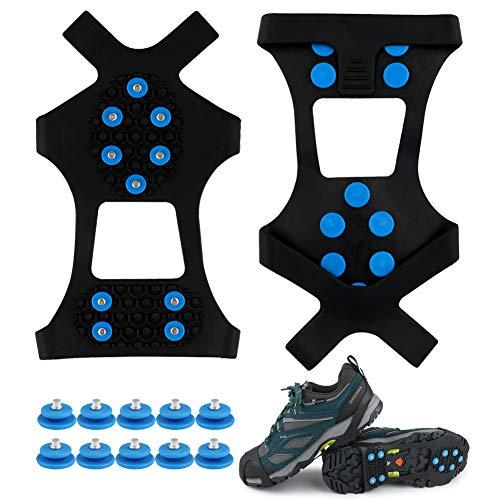 Fengzio Racos de Hielo Tracción Antideslizante Más de Zapatos/para 10 Tacos Nieve Hielo Grips Crampones Tacos Picos (Azul 1Paar, M 36-41(EU))