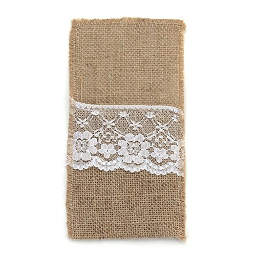 vLoveLife 8.5'' x 4'' Natural Hessian Burlap Cutlery Holder Pouch Bag with Lace Rose Flower Wedding Tableware Bags Favor - Pack Of 50