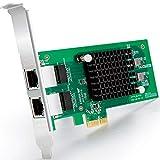 Gigabit PCIE Tarjeta de Red Intel 82576 - E1G42ET Chip, 1Gb Tarjeta Ethernet PCI Express 2.0 X1 Lane Adaptador, Puertos duales RJ45 Nic para Windows Server, Linux, VMware ESX - ipolex