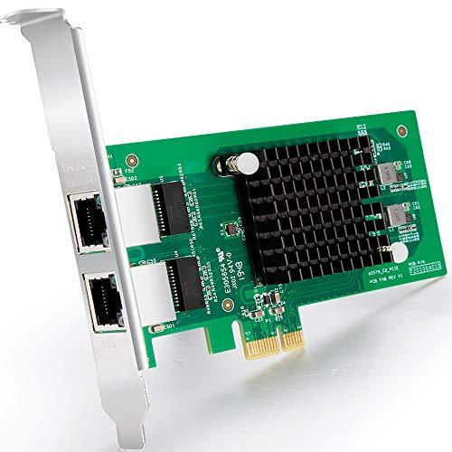 Gigabit PCIE Scheda di rete Intel 82576 - E1G42ET Chip, 1Gb Scheda rete Ethernet PCI Express 2.0 X1 LAN Card, Dual RJ45 Ports NIC per Windows Server, Linux - ipolex