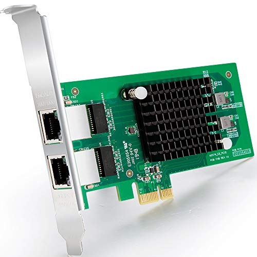 Gigabit PCIE Tarjeta de Red Intel 82576 - E1G42ET Chip, 1Gb Tarjeta Ethernet PCI Express 2.0 X1 Lane Adaptador, Puertos duales RJ45 Nic para Windows Server, Linux, VMware ESX - ipolex