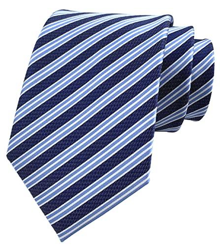 Rosiika Corbatas formales a rayas modernas de los hombres de la universidad tejidas diariamente de la boda, Azul marino y azul., Taille unique
