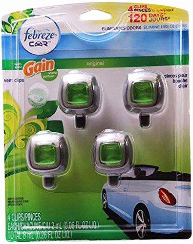 Febreze Car Vent-clip Air Freshener, Gain Original, 4 Count