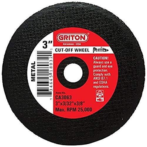 Griton CA3063 Arbor - Rueda de corte industrial para metal, diámetro de agujero de 3/8' y diámetro de 3 cm de diámetro, 3/32' de ancho (paquete de 25)