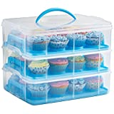 VonShef Snap and Stack Pink 3 Tier Cupcake Holder & Cake Carrier...