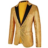 MAGE MALE Mens Tails Slim Fit Tailcoat Sequin Dress Coat Swallowtail Dinner Party Wedding Blazer Suit Jacket Gold