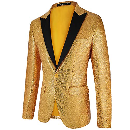 COOFANDY Men Stylish Gold Metallic Suit Blazer Tuxedo for Party,Prom,Nightclub, Golden, XX-Large
