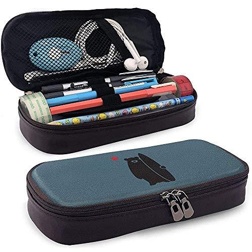 Sac à cosmétiques de voyage portable California Surf Bear en cuir