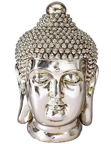 NRMEI Large Size Buddha Head Statue Meditating Shakyamuni Bust Sculpture Housewarming Gift from Asian Zen Blessing Ornament Chinese Feng Shui Idea Modern Tibetan Style(24' H Champagne)