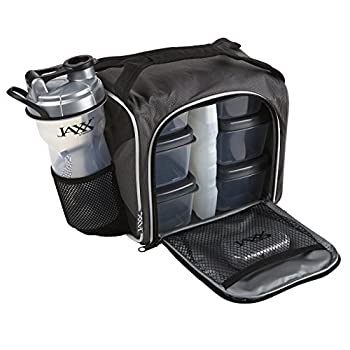 Fit & Fresh Original Jaxx FitPak Insulated Cooler Lunch Box Meal Prep Bag with Portion Control Containers Ice Pack 28 oz Shaker Standard Silver
