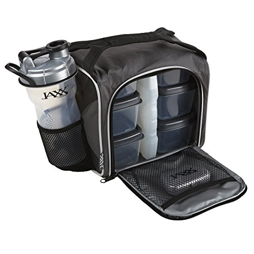 Fit and Fresh Original Jaxx FitPak Insulated Cooler Lunch Box, Meal Prep Bag with Portion Control Containers, Ice Pack, 28 oz Shaker, Standard, Silver
