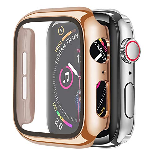 Cogift Rose Gold Hard Case Compatible with Apple Watch Series 6 SE Series 5 Series 4 40mm, Hard PC Case Slim Tempered Glass Screen Protector Overall Protective Cover for iwatch