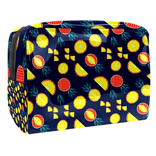Bolsa de maquillaje portátil con cremallera, bolsa de aseo de viaje para mujeres, práctica bolsa de almacenamiento de cosméticos, piña azul marino