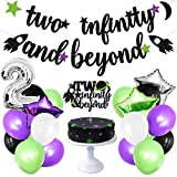 Two Infinity And Beyond Party Decoration Baby Second Birthday Glitter Space Banner Rocket Cake Topper Buzz Lightyear Balloons Kids Party Favor Ideas Supplies