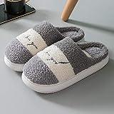 Zapatillas Casa Hombre Mujer Zapatillas Mullidas para Mujer, Zapatos De Piel Cálidos De Invierno para Mujer, Bonitas Rayas con Fondo Suave, Zapatillas Cómodas para El Interior del Hogar para Niña