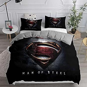 Boys Duvet Cover Superman Bedding Set for Queen Comforter Superhero Bed Set Quilt Cover for Senior Teens Girls