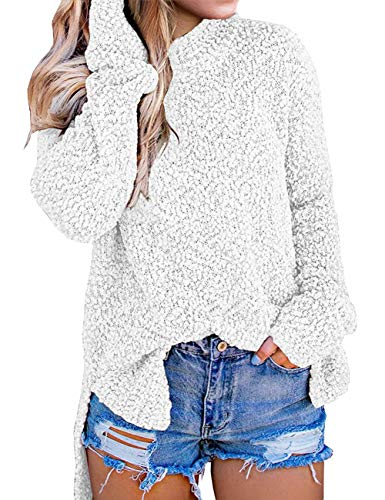 MEROKEETY Women's Long Sleeve Sherpa Fleece Knit Sweater Side Slit Pullover Outwears White