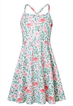Loveternal Girls Summer Dress Size 10-12 Kids Flamingo Dresses Fresh Outfits Long Casual Tropical Dresses Pink White Backless Dresses Girls Spaghetti Strap Aloha Hawaiian Sundress Size 13 Year Old