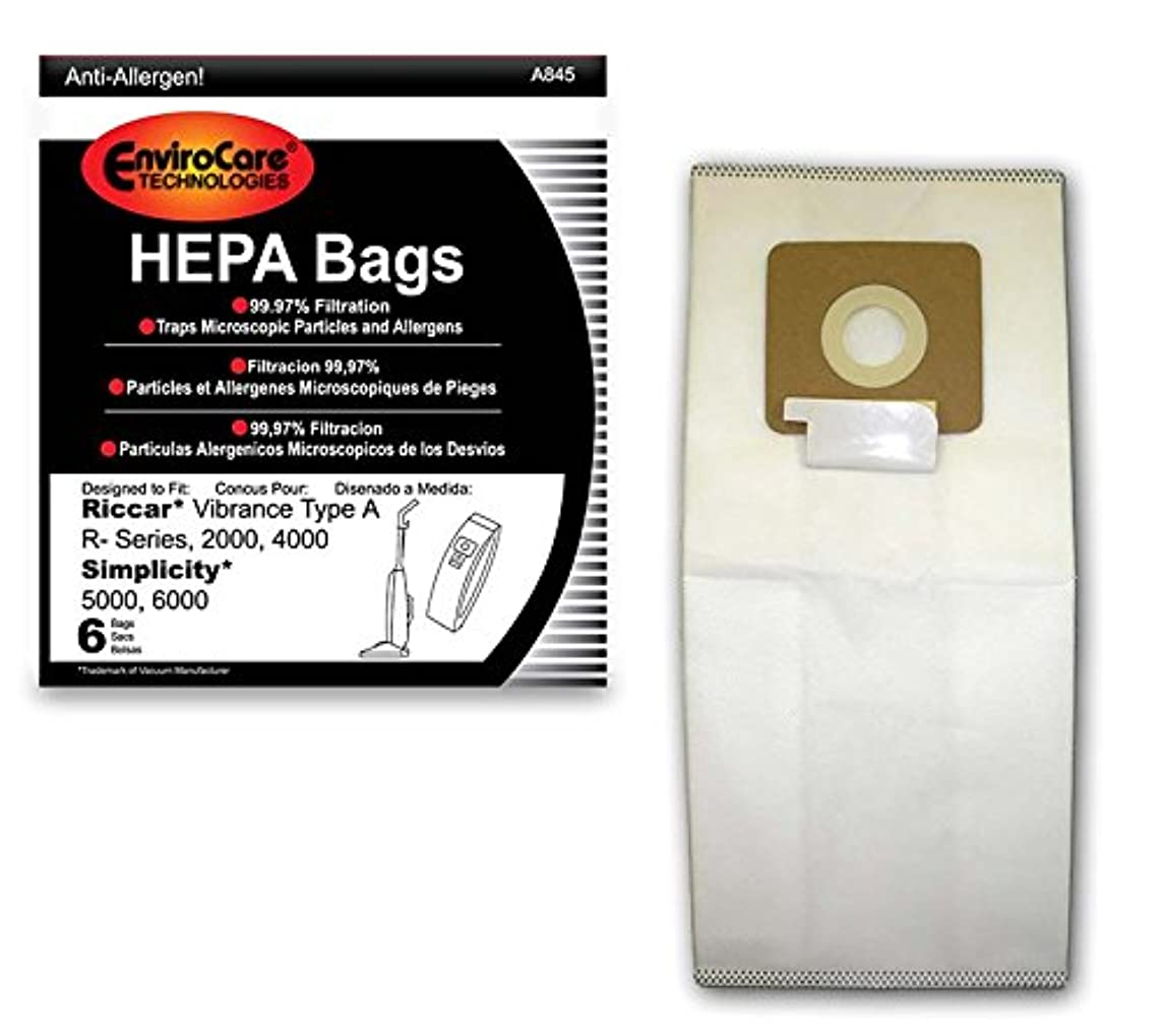 EnviroCare Replacement HEPA Vacuum Bags for Riccar Vibrance Type A R-Series, 2000, 4000, Simplicity 5000, 6000 6 Pack