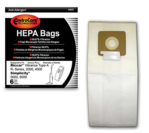 EnviroCare Replacement HEPA Filtration Vacuum Cleaner Dust Bags Made to fit Riccar Vibrance Type A R-Series, 2000, 4000, Simplicity 5000, 6000 6 Pack