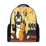 LIANCHENYI Cat Music tocando el Erhu mochila informal personalizada mochila escolar mochila de viaje