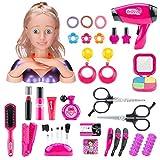 Leic Juego de simulación de Maquillaje 35 Piezas simulación de Dibujos Animados Cabeza de muñeca Peinado Juguete de...