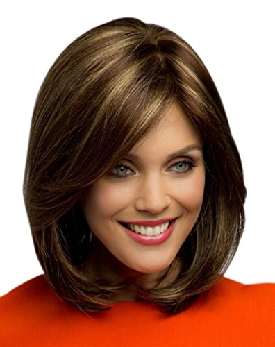 Kalyss Short Brown Blonde Highights Bob Wigs with Hair Bangs for Women Yaki Synthetic Hair Wigs