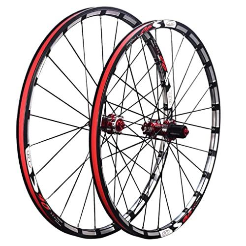 M-YN Mountain Bike Wheelset 26/27.5 Pulgadas, Aleación MTB Ruedas De Bicicleta Lanzamiento Rápido Frenos De Disco Compatibles 7-11 Ruedas De Casete De Velocidad(Size:26inch,Color:Rojo)