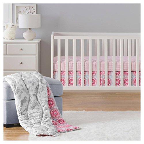 Sabrina Soto Lola Réversible 3 Piece Baby Crib Animals Bedding Nursery set, pink Gray by Sabrina Soto