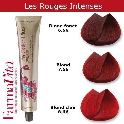 Coloration cheveux FarmaVita - Tons Rouges Intenses Blond rouge intense 7.66