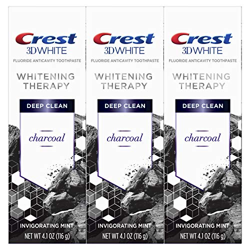 Price comparison product image Crest Charcoal 3D White Toothpaste,  Whitening Therapy Deep Clean with Fluoride,  Invigorating Mint,  4.1 Ounce,  Pack of 3