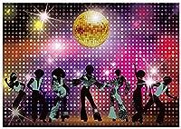 GooEoo 8x6ftレトロ70年代ディスコパーティーの装飾の背景輝くネオンライトダンサー夜の写真の背景輝く家族のパーティーの誕生日の背景ベビーシャワーの装飾ビニール素材